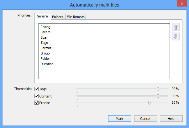 Screenshot: Automark dialog