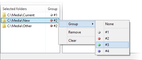 Screenshot: Folder groups selection