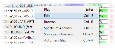 Screenshot: Results context menu - Edit