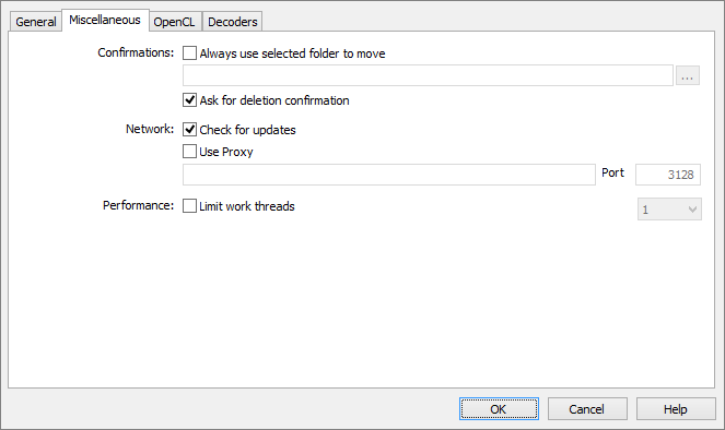 Screenshot: Options Dialog - Miscellaneous Tab