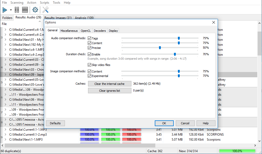 Similarity - Remove similar, duplicate MP3, music, audio files by